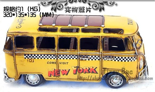 Large Size Yellow Tinplate Vintage 1963 New York VW Bus Model