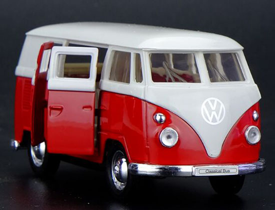 Kids 1:36 Sale Welly Red-White Die-Cast 1962 VW Bus Toy