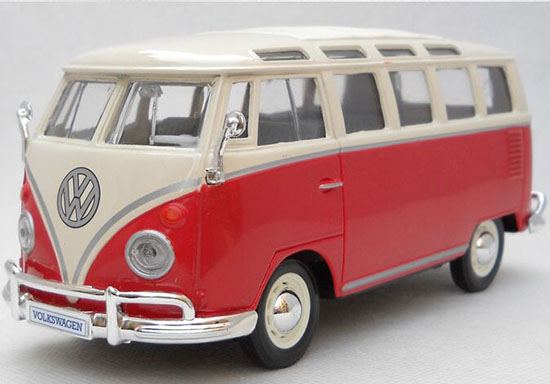 Red / Blue 1:25 Scale Maisto Die-Cast VW Samba Bus Model