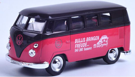 Green / Red / Brown 1:36 Scale Welly Die-Cast 1962 VW Bus Toy