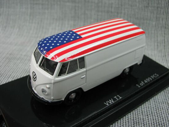 Red / White / Blue 1:64 Scale KYOSHO Die-Cast VW T1 Bus Model