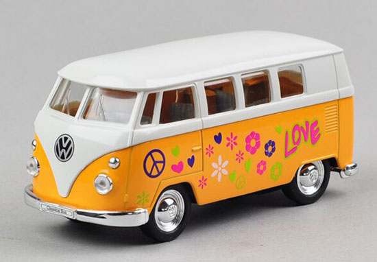 Kids 1:36 Scale Welly White-Yellow Die-Cast 1962 VW Bus Toy