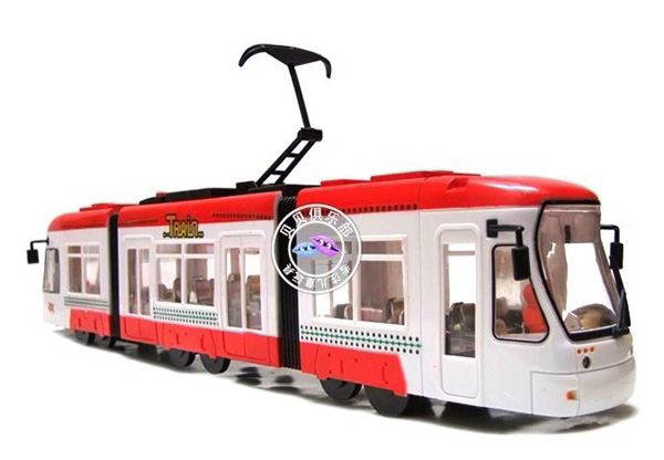 Large Scale Kids White-Red Plastics Electric City Tram Bus Toy