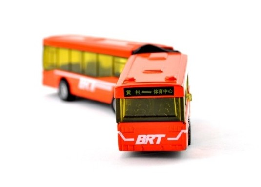 Orange Kids Pull-Back Function Die-Cast BRT Articulated Bus Toy