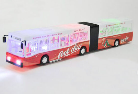 Large Scale Kid Red-White Plastics Electric Articulated City Bus