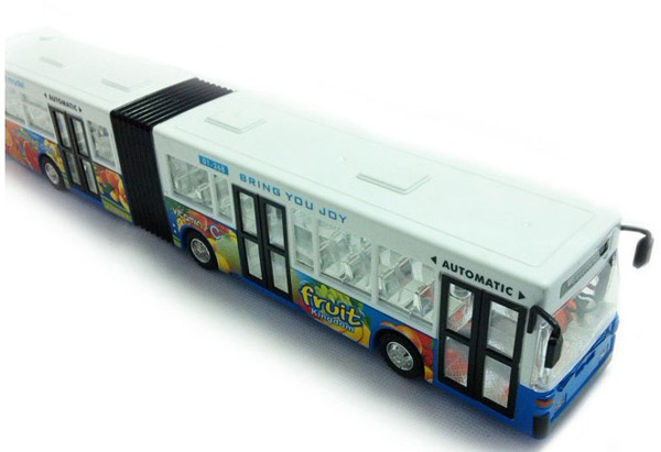 Large Scale Kids Blue / Yellow Plastics Electric Articulated Bus