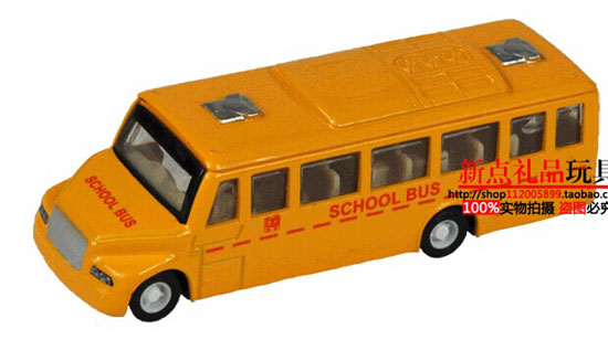 Mini Scale Kids Yellow Die-Cast School Bus Toy