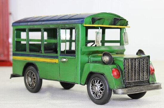 Green / Blue Medium Size Vintage Tinplate School Bus Model