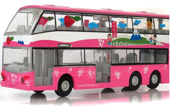 Pink Kids Pull-Back Function Die-Cast Double Decker Bus Toy