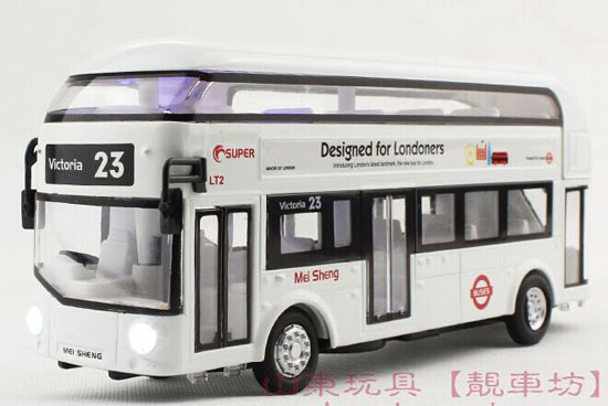 Kids Blue / White / Red Die-Cast London Double Decker Bus Toy