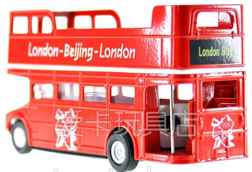 Red Kids Pull-Back Function Diecast London Double Decker Bus Toy