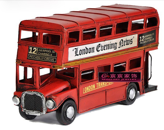 Red Small Scale Vintage Tinplate London Double Decker Bus Model
