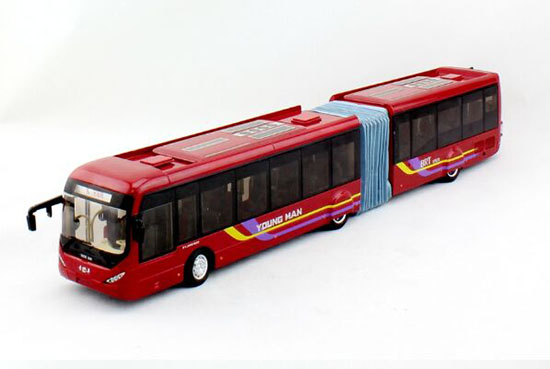 1:42 Scale Wine Red Die-Cast Young Man BRT Articulated Bus Model