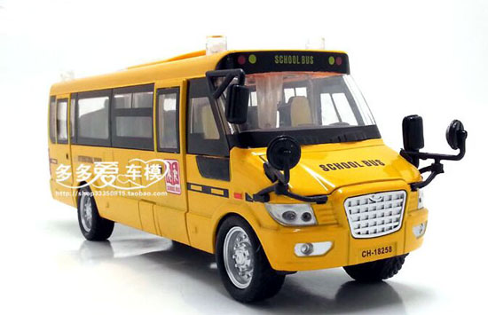 Yellow Pull-Back Function Kids Die-Cast School Bus Toy