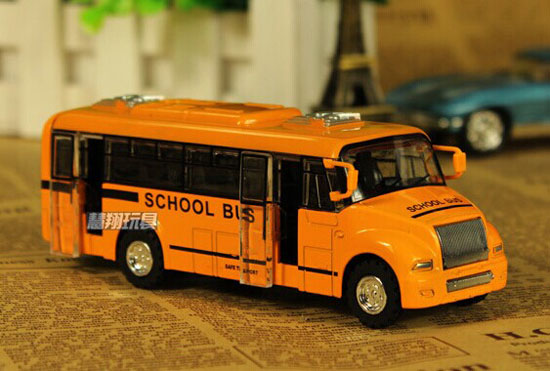 Yellow 1:32 Kids Pull-Back Function Die-Cast School Bus Toy