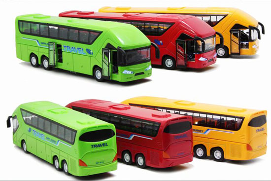 Yellow / Green / Red 1:50 Kids Die-Cast Tour Bus Toy