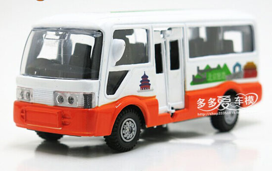 Kids White-Orange Die-Cast BeiJing Tour Bus Toy