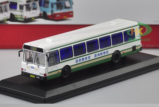1:76 Scale White NO.82 Die-Cast FLXIBLE City Bus Model