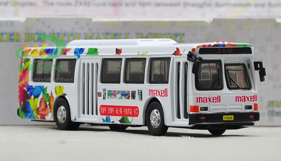1:76 Scale White MAXELL Die-Cast FLXIBLE City Bus Model