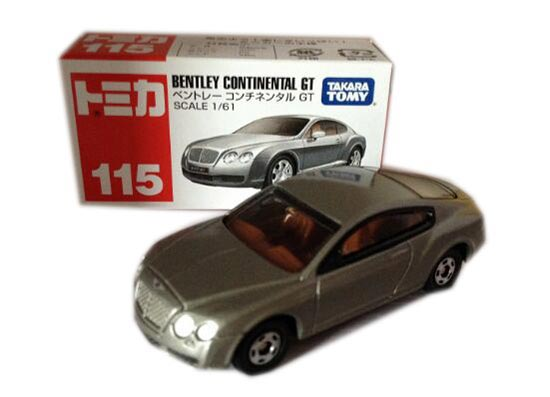 1:61 Scale Silver TOMY Bentley Continental GT Toy