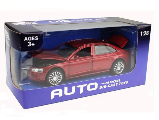 1:28 Scale Black / Red / White Diecast Audi A8L Toy