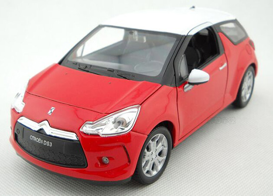 Blue / Red 1:24 Scale Welly Diecast 2010 Citroen DS3 Model