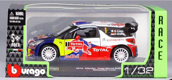 1:32 Bburago Diecast 2012 Citroen Total World Rally Team Model
