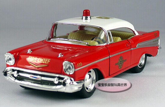 1:32 Scale Kids Red-White Diecast Chevrolet 1957 Bel Air Toy