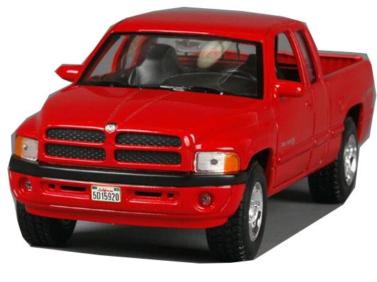 Silver / Red 1:24 Scale Welly Diecast Dodge Ram 1500 Pickup