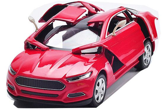 Kids 1:32 Scale Yellow / Green / Red Diecast Ford Concept Car