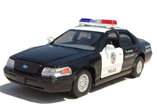 Kids 1:36 Scale Black / White Diecast Ford Police Car Toy