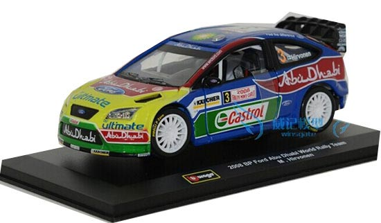 Bburago 1:32 Scale Blue WRC 2008 Ford Focus Racing Car