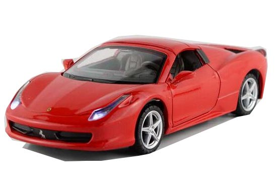 Kids 1:32 Red / White / Yellow / Blue Diecast Ferrari F458 Toy