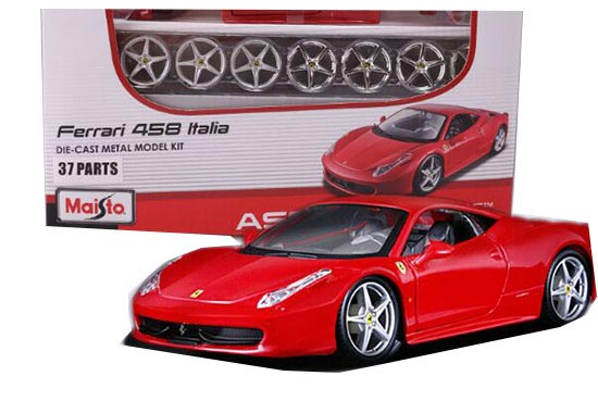 Red 1:24 Scale MaiSto Assembly Diecast Ferrari F458 Model