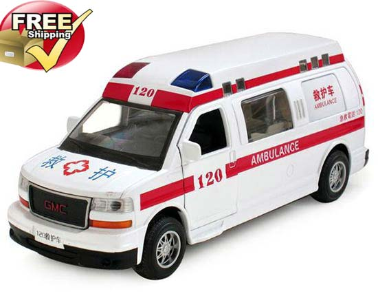 White 1:32 Scale Pull-Back Function Diecast GMC Ambulance Toy