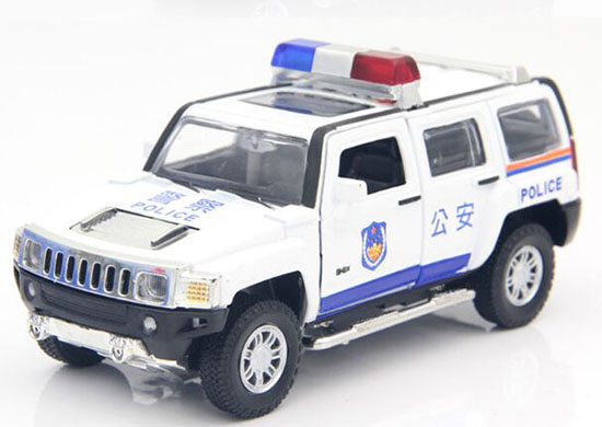 1:32 Scale Kids White /Black Police Theme Diecast Hummer H3 Toy