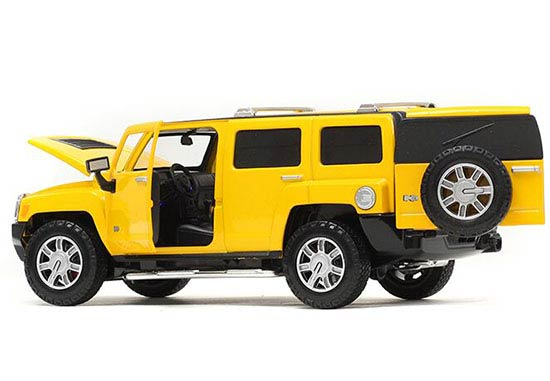 1:24 Scale Red / Yellow Kids Diecast Hummer H3 Toy