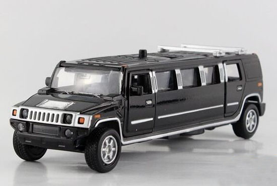 Kids 1:38 Scale Black / White / Silver Diecast Hummer Toy