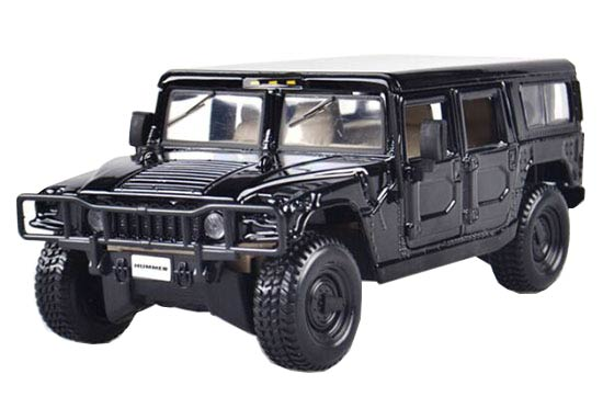 Black / Red MaiSto 1:27 Scale Diecast Hummer H1 Model