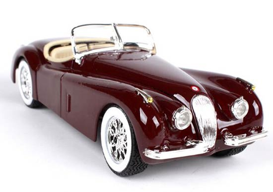 Silver / Wine Red 1:24 Scale Bburago Diecast Jaguar XK120 Model