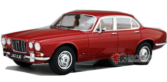 White / Red 1:18 Scale Diecast 1971 Jaguar XJ6 Model