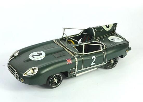 Green Medium Size Tinplate Vintage 1954 Jaguar D-TYPE Model