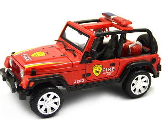 1:24 Scale Kids Red / White / Green Diecast Jeep Wrangler Toy