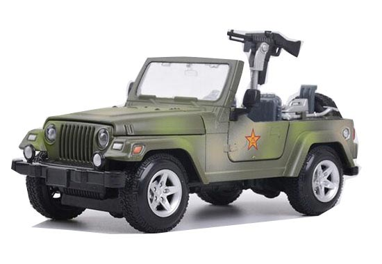 1:24 Scale Black / Army Green Kids Diecast Military Jeep Toy
