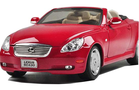 Red 1:18 Scale Welly Diecast Lexus SC430 Roadster Model