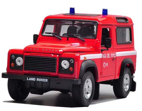 Red 1:24 Scale Welly Police Diecast Land Rover Defender Model