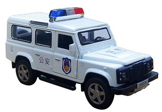 1:32 Black/ White Kids Police Diecast Land Rover Defender Toy