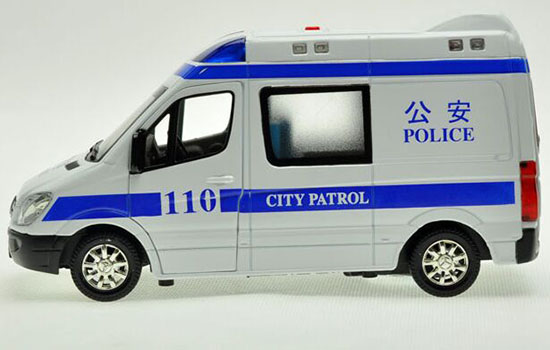 1:32 White Kids Police Diecast Mercedes-Benz Sprinter Toy