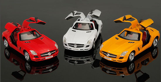 1:36 Scale Red / Yellow / White Diecast Mercedes-Benz SLS AMG