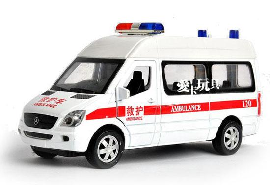 Kids White 1 32 Scale Diecast Mercedes Benz Ambulance Van